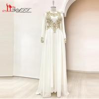 Gold Appliques Evening Dresses 2017 New Saudi Chiffon Floor Length Women Prom Dress Long Sleeves Muslim