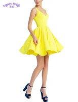 Короткие бальные платья 2019 v образным вырезом атласные трапециевидные гофрированные Желтый Черный Розовый спинки вечерние деловые платья
