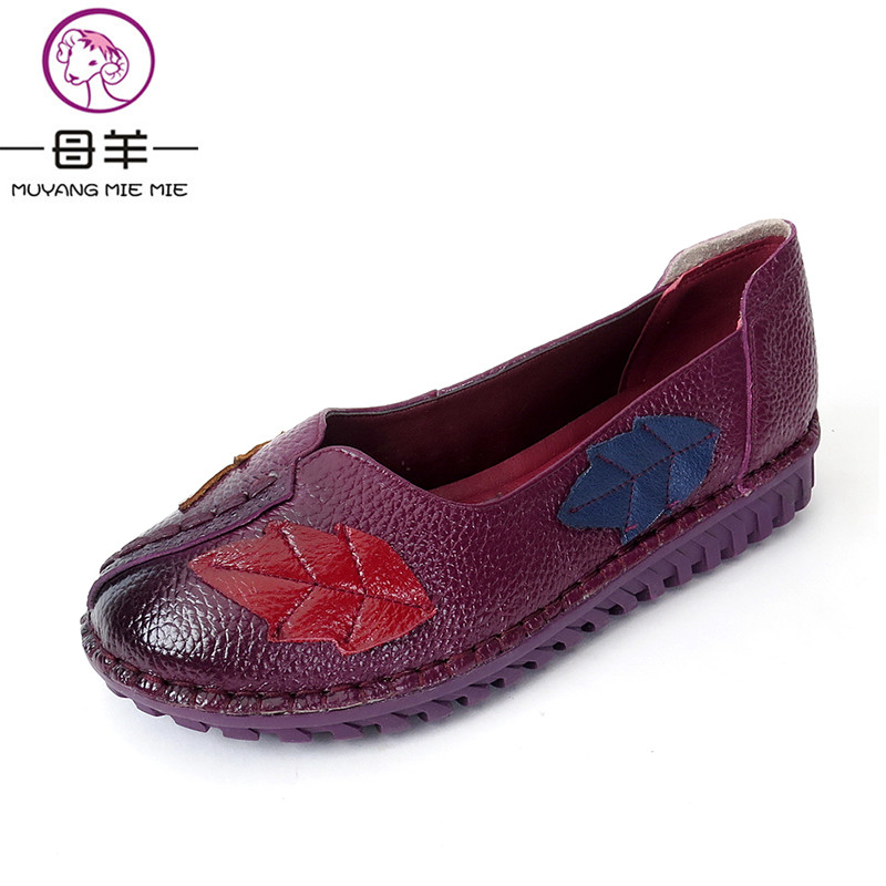 MUYANG MIE MIE  Women Flats  Fashion Genuine Leather Flat Shoes Woman Soft Casual Loafers slip-resistant flat heel Women Shoes flat bottomed luxury mens loafers mark thread heel cover pedal leather strappy solid italian cowhide slip resistant soft leather