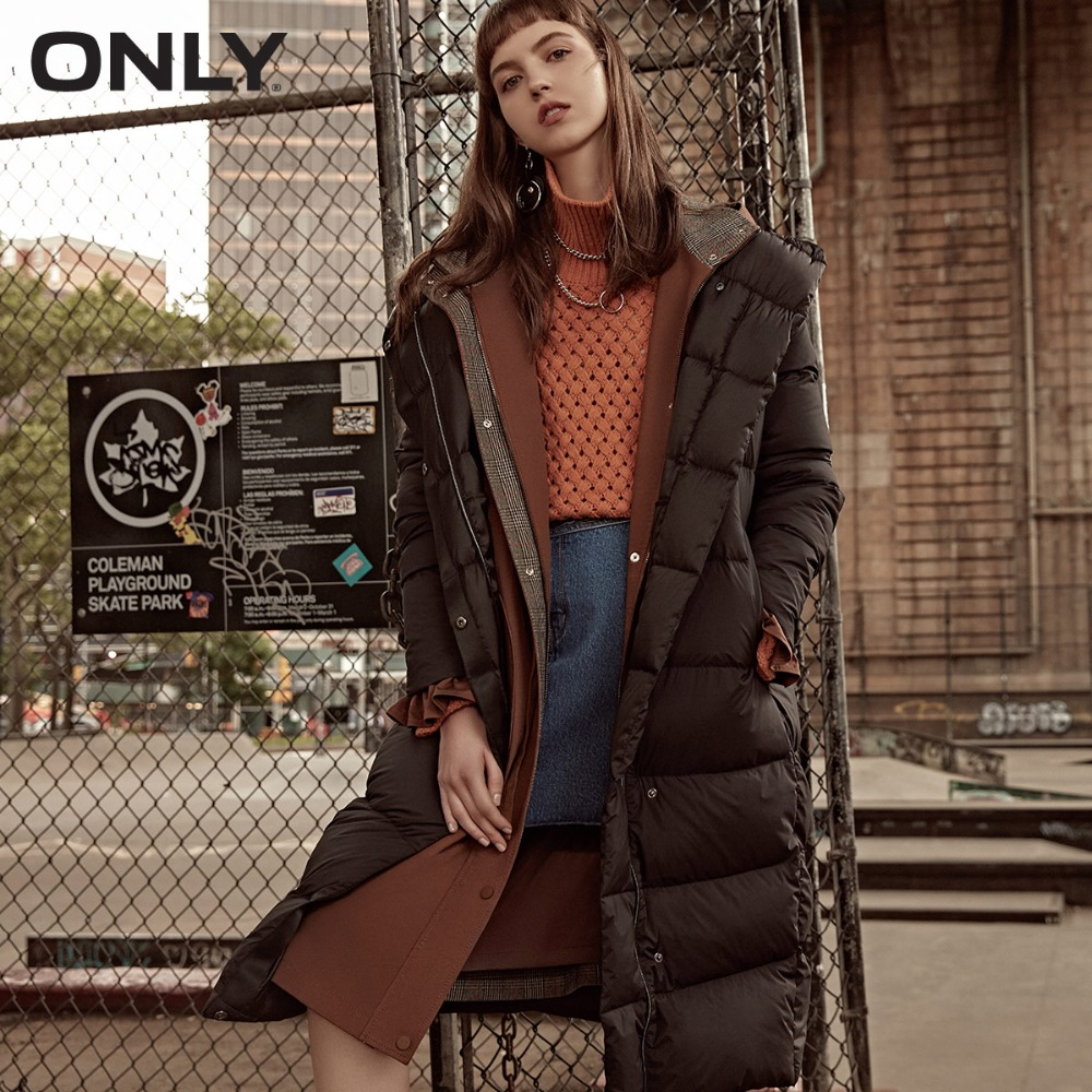 ONLY  Womens' Winter New Medium And Long Black Down Jacket Partial Sill Design Hooded Collar|118312555