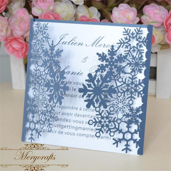 Mery good design laser cut artistic snowflakes invitation card for wedding and party invitations