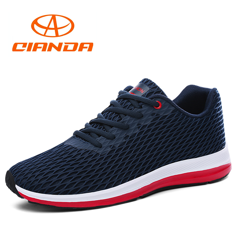 QIANDA Men Sport Light Running Shoes Lace-up Cushioning Man Sneakers Breathable Outdoor Walking Jogging Soft Trekking Shoes