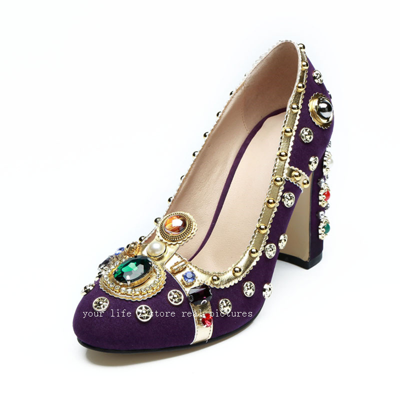 Purple Women Pumps Rivets Studded kid suede Chunky High Heels crystal Shoes  pearled Jewellery Wedding Shoes for ladies ... 8077a8e75f27