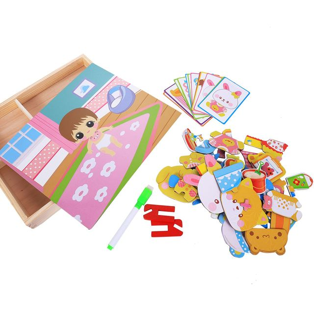 MWZ magnetic fun jigsaw children wooden puzzle board box pieces games cartoon educational drawing baby toys for girls boys, Ba