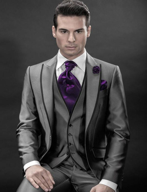 Charcoal Silver Grey Tuxedos 2018 Mens Groom Suits For Wedding Peak Lapel