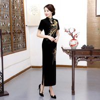New Arrival Oriental Dress Chinese Style Dress Long Velvet Cheongsam Flower Embroidery Qipao Chinese Women's Dress Plus Size 3XL