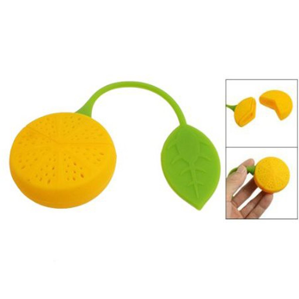 Hot Lemon Shaped Silicone Perforated Tea Strainer Filter Infuser Orange Green