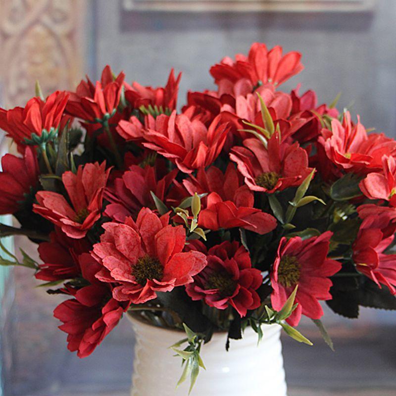 1 manojo Artificial nupcial de la margarita flores de seda ramo Home Party Decor
