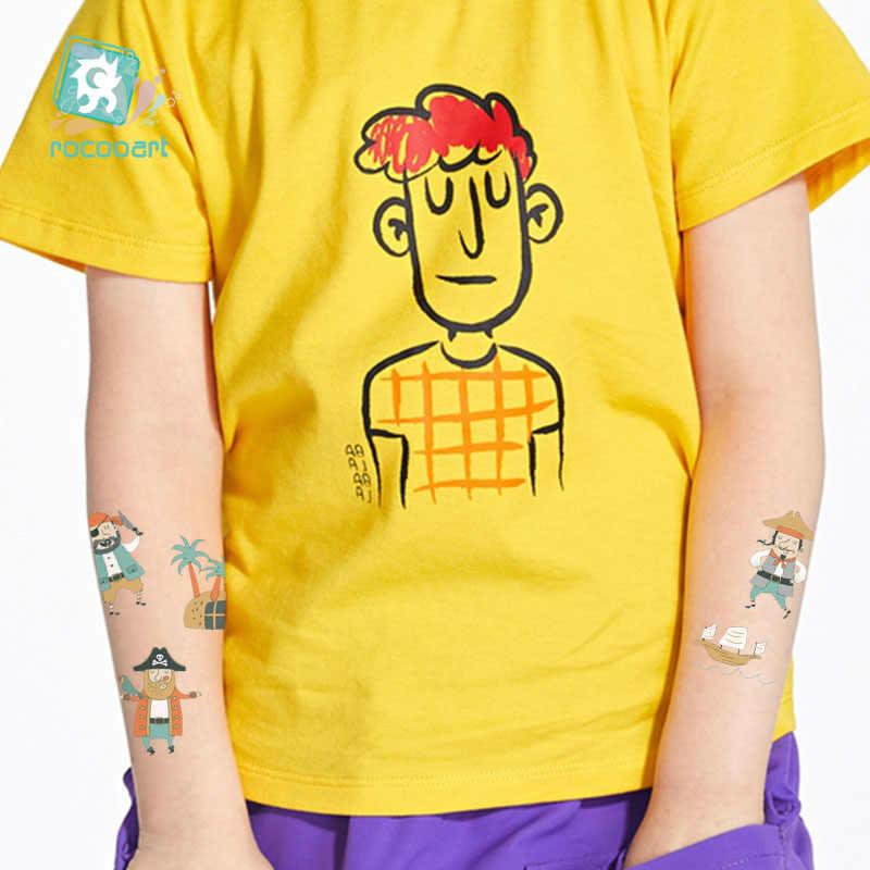 Tatuagem temporária à prova dwaterproof água do corpo da arte do tatouage das crianças dos desenhos animados da tatuagem do pirata para crianças