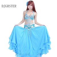 DJGRSTER Belly Dance2 3pcs Bra&skirt&Belt Bellydance Costume Professionals 8 Colors Traje Danza Del Vientre Bollywood Costumes