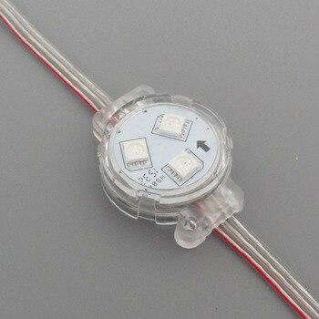 20 piezas/cadena 30mm 12V WS2811 LED dirigible rgb Módulo de píxeles a todo color; IP68; funda transparente; 0,72 W; cable transparente