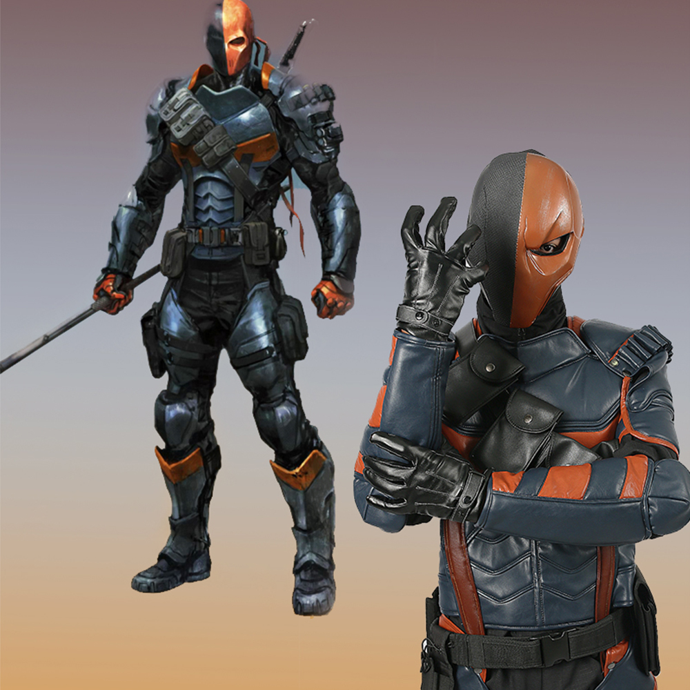 X-COSTUME Batman Arkham Knight Game Deathstroke Cosplay Costume PU Leather Armor Outfit Superhero Suit Halloween Costume For Men