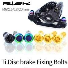 RISK 4Pcs M6x18/20mm MTB Bike Disc Brake Bolts TC4 Titanium Alloy Bicycle Screws Black Gold Rainbow