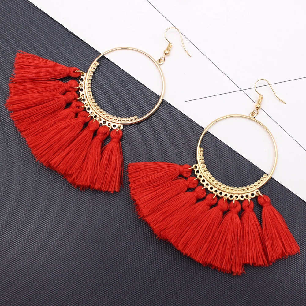 19 Colors round dangling pendant Drop earrings woman fabric tassel earring ethnic bohemian fantasy fringed boucles d'oreille 15