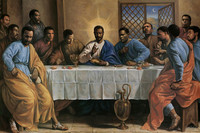 (PN-320@) the africa american last supper Painting Custom High-Grade Canvas Poster Hot Sale