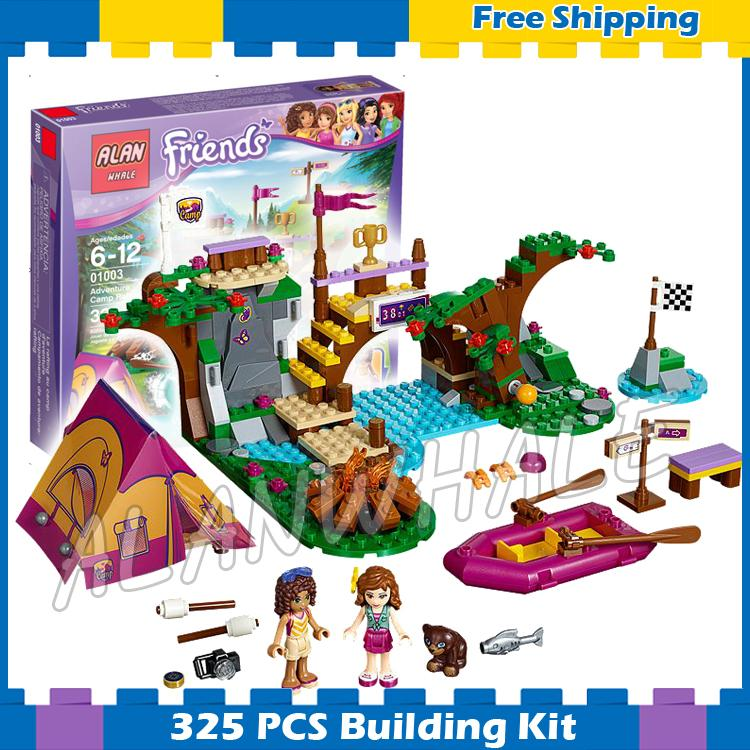 320pcs Friends Series Adventure Camp Rafting River Boat 01003 Building Blocks Model Olivia Andrea Gifts set Compatible With lego