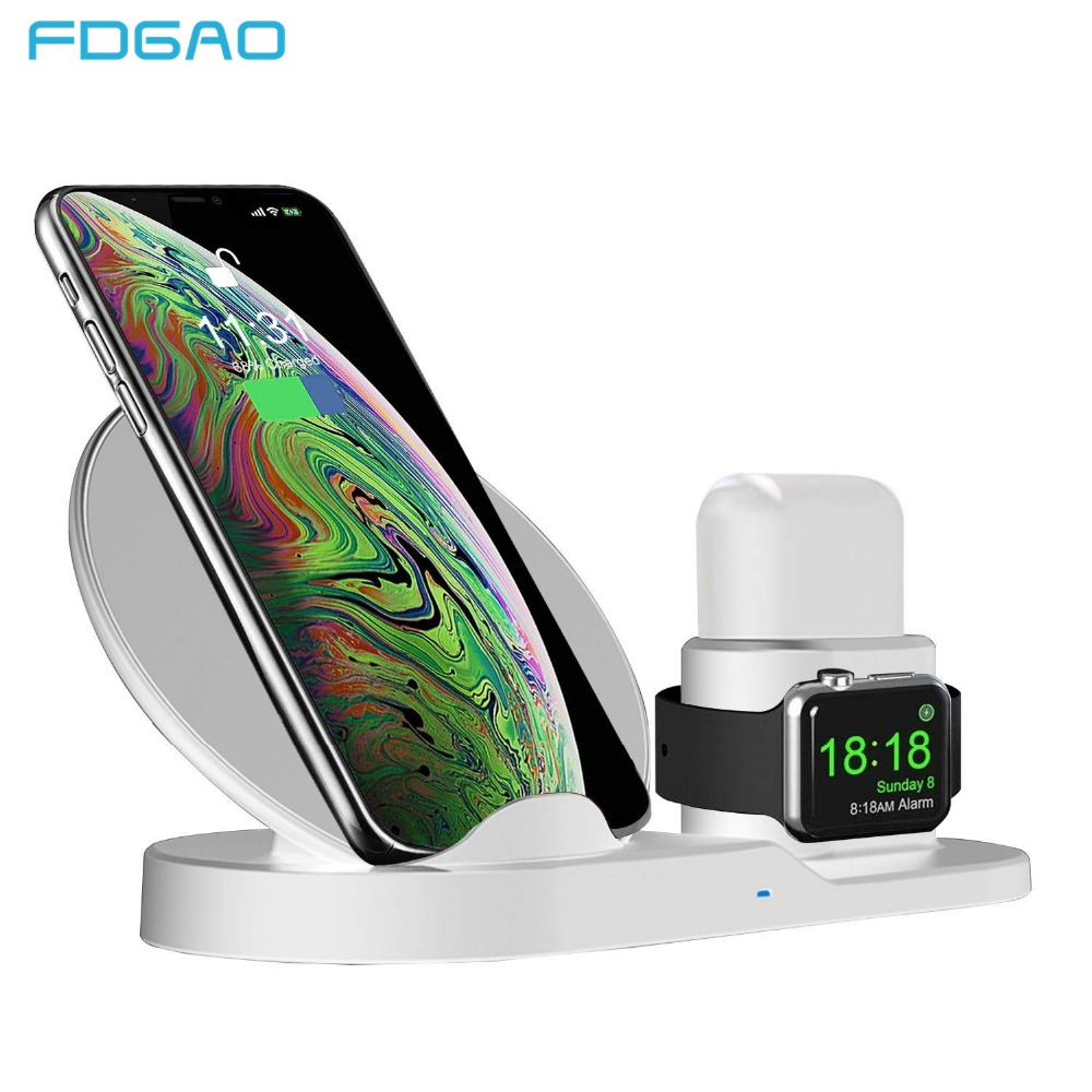 Fdgao Qi Wireless Charger for Apple watch 1 2 3 iPhone XS Max XR X 8 Plus AirPods Fast Charging Stand For Samsung S9 S8 Note 9 8Fdgao Qi Wireless Charger for Apple watch 1 2 3 iPhone XS Max XR X 8 Plus AirPods Fast Charging Stand For Samsung S9 S8 Note 9 8