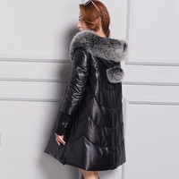 Большие размеры зимние из овечьей кожи пальто, Элегантный Настоящее кожаные куртки, женские длинное пальто меховой воротник лиса пальто Бе