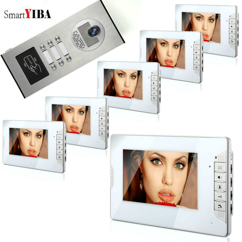 SmartYIBA 7''Color Wired Video Door Phone Intercom System kit 1000TVL RFID Access Entry Camera Doorbell Night Vision Apartment sx460 free shipping