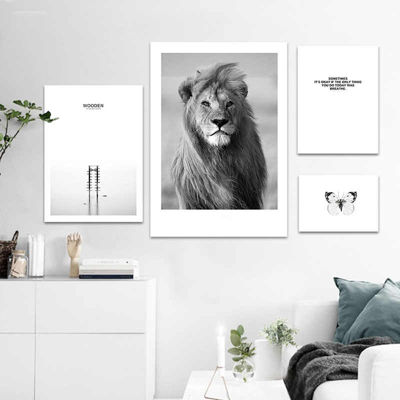 Canvas Poster Nordic Style Sea Forest Landscape Painting Wall Art Printed Animal Lion Black White Pictures For Living Room