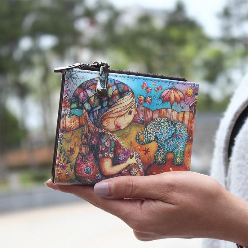 New Fashion cartoon wallet brand designed short women wallet zipper female purse card holder Carteira