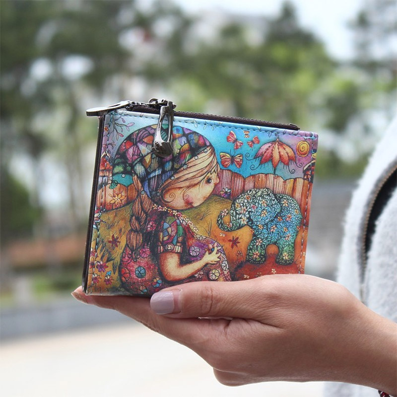 New Fashion cartoon wallet brand designed women short wallet with zipper female printed purse card holder carteira boho style new brand candy colors leather carteira couro cards holder for girls women wallet purse plaid embossing zipper wallet