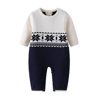 New 2017 Winter Baby Knit Romper Christmas Baby Boys Snowsuit One Piece Baby Clothes Infant Newborn