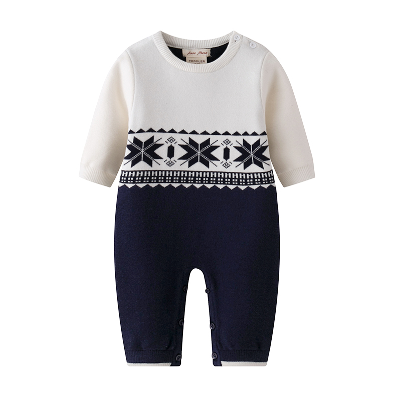 New 2017 Winter Baby Knit   Romper   Christmas Baby Boys Snowsuit One Piece Baby Clothes Infant Newborn bebes Jumpsuit