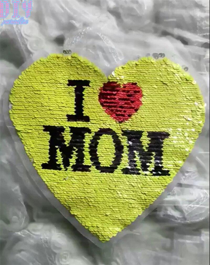 Я люблю маму двусторонними пайетками пришить патчи для одежды дети мальчик девочка футболка изменить цвет обратный патч аппликация