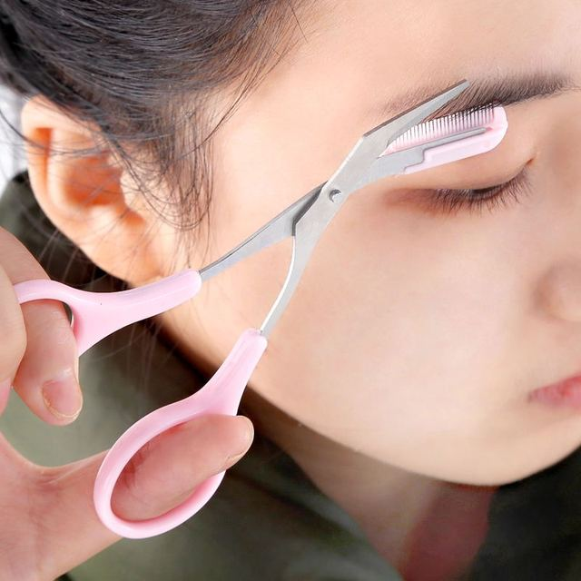 Makeup Pink Eyebrow Trimmer Scissors With Comb Hair Removal Shears Comb Grooming  Cosmetic Tool Eyelash Combing 1