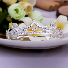 2015 new arrived 925 sterling silver jewelry  wonderful crown with stone open cuff  bracelet  bangle for women fine jewerly
