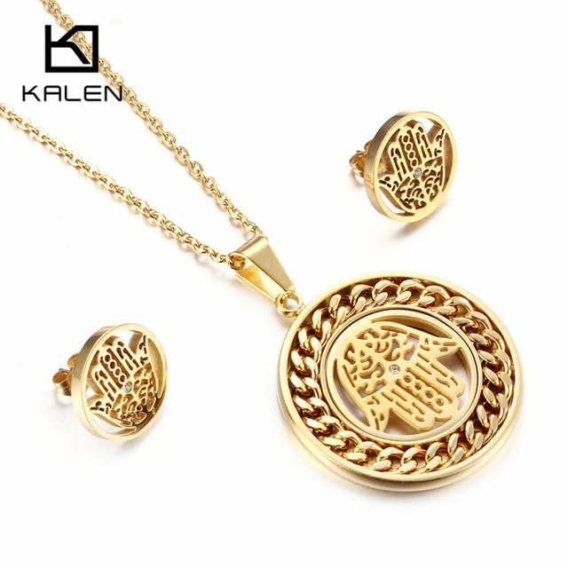 Kalen Women Lucky Palm Jewelry Set Stainless Steel Egypt Gold Color
