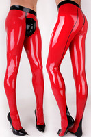 (LS16)100% pure rubber fashion unisex crotch zip sexy latex leggings pantyhose panties tights rubber tights rubber jeans panti