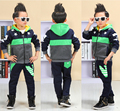 2016 Осень зима детская одежда набор детей спортивные костюмы руно спортивный костюм мальчики футболка брюки девушки куртка с капюшоном
