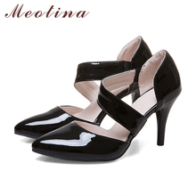 Meotina Women Shoes Pumps High Heels Pointed Toe Thin High Heels Sexy Party Wedding Shoes White Bridal Shoes Red Big Size 11 12