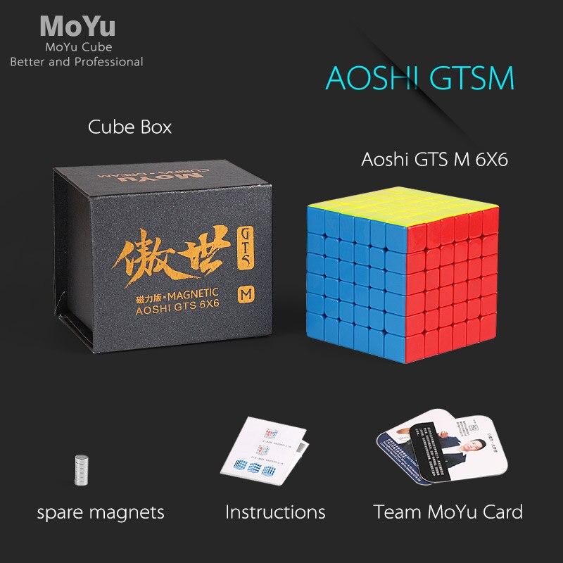 Moyu aoshi gts m 6x6x6 magnético gtsm mágico velocidade cubo quebra-cabeça profissional magia gts 6 m 3x3 ímã brinquedos educativos para crianças