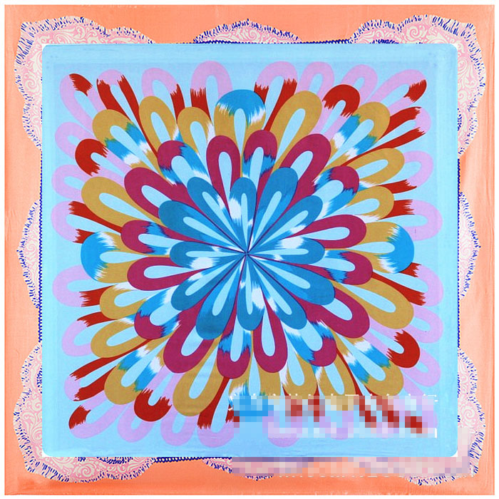 <font><b>90</b></font> * <font><b>90</b></font> new silk satin large square scarf radiant women's geometric scarf scarf image