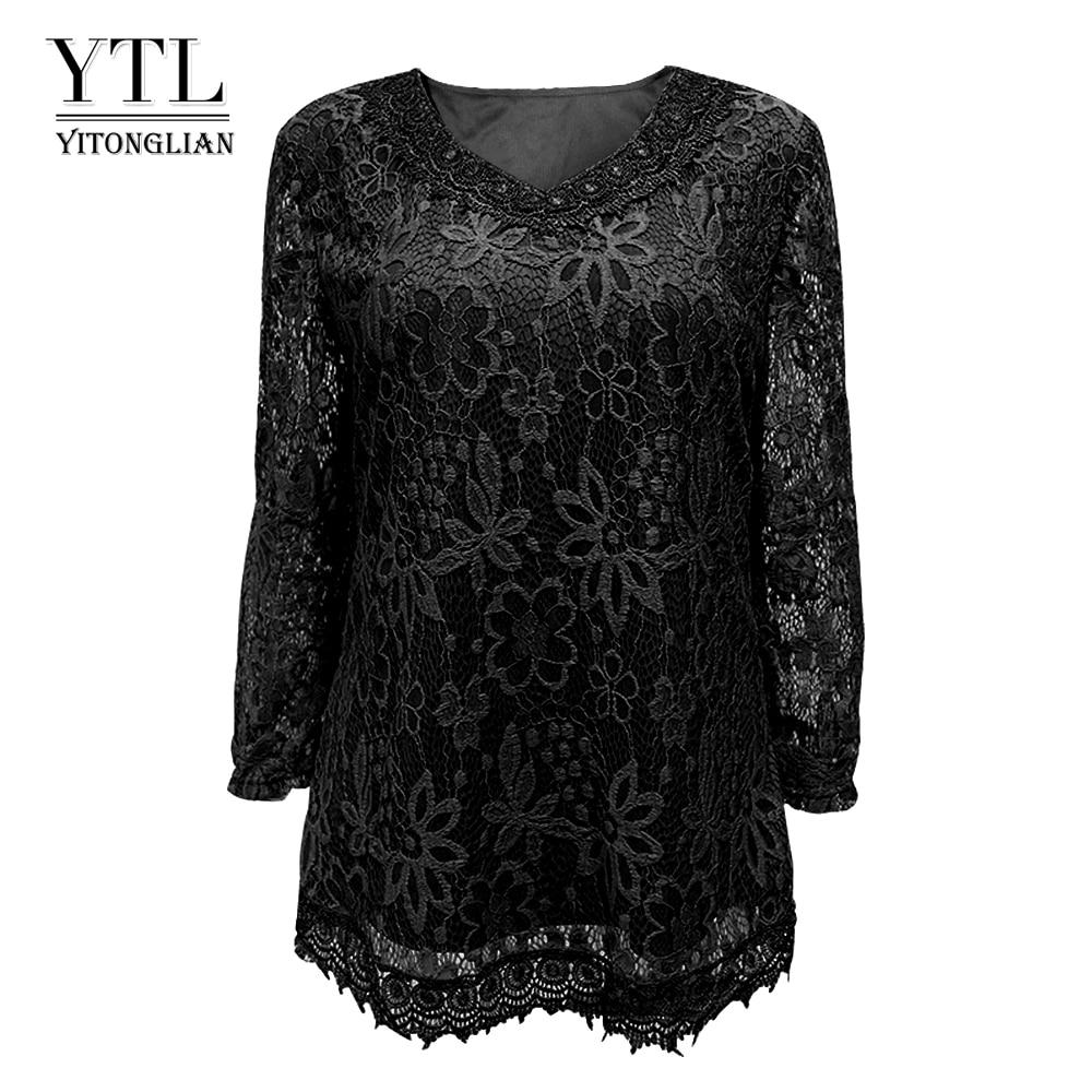 Womens Plus Size Elegant Long Sleeve Floral Lace Black Color T Shirt Women Ladies Tee Shirts 6XL 7XL 8XL H009