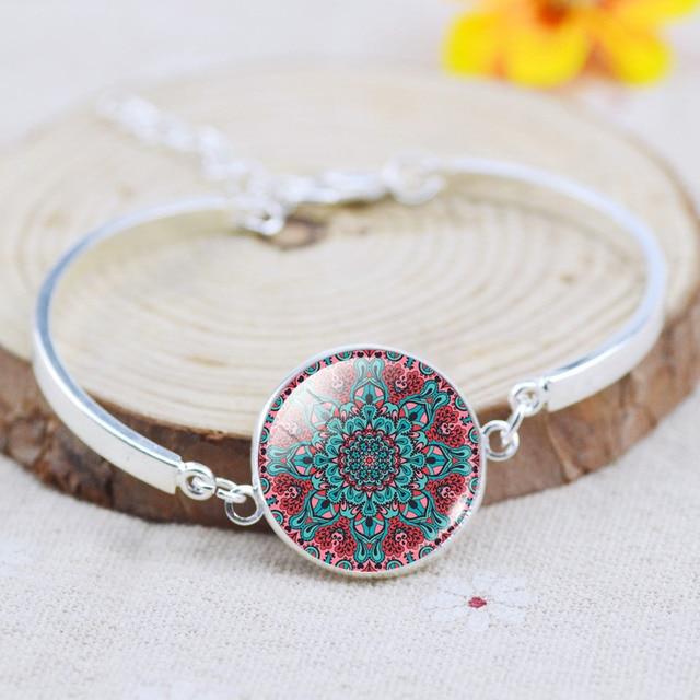 LIEBE ENGEL Charm Indian Jewelry Sets Mandala OM Symbol Buddhism Zen Vintage Silver Color Earrings Bracelet Necklace Women 2017
