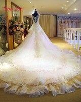 Taoozor Новый Дизайн Бисер блестками Кристалл Свадебные платья 2017 A Line Bling лиф Sexy v образным вырезом Свадебные платья Novias плюс Размеры