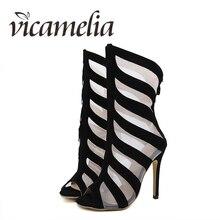 Vicamelia European Style Mesh Sexy High Heel Sandals Women Fish Mouth Ladies Black Boots Open Toe Zipper Shoes 068