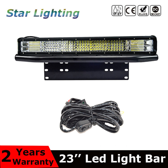 """23inch quad row combo led light bar + 23"""" bull bar front bumper license plate Mount bracket For Offroad 4x4 trucks tractor car"""