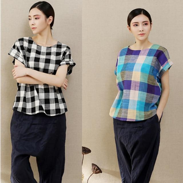 ddda9966f7f757 Ladies Shirt Cell Purple Plaid Shirt Female Short Sleeve Black And White  Plaid Linen Shirt Summer