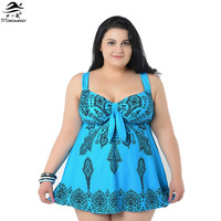 4 8XL 2015 Super Plus Size Skirt Swimwear One Piece Swimsuit Big Women Triangle Swimwears Printed