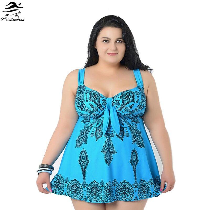4-10XL Super Plus μέγεθος Φούστα μαγιό ένα κομμάτι μαγιό Μεγάλες γυναίκες swimwears τυπωμένα Παραλία ρούχα maillot de bain