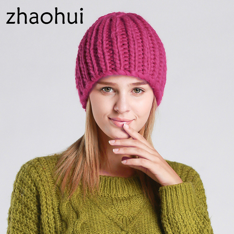 zhaohui Autumn  Winter Thickening Care Ear Twist Wool Knitted Hat