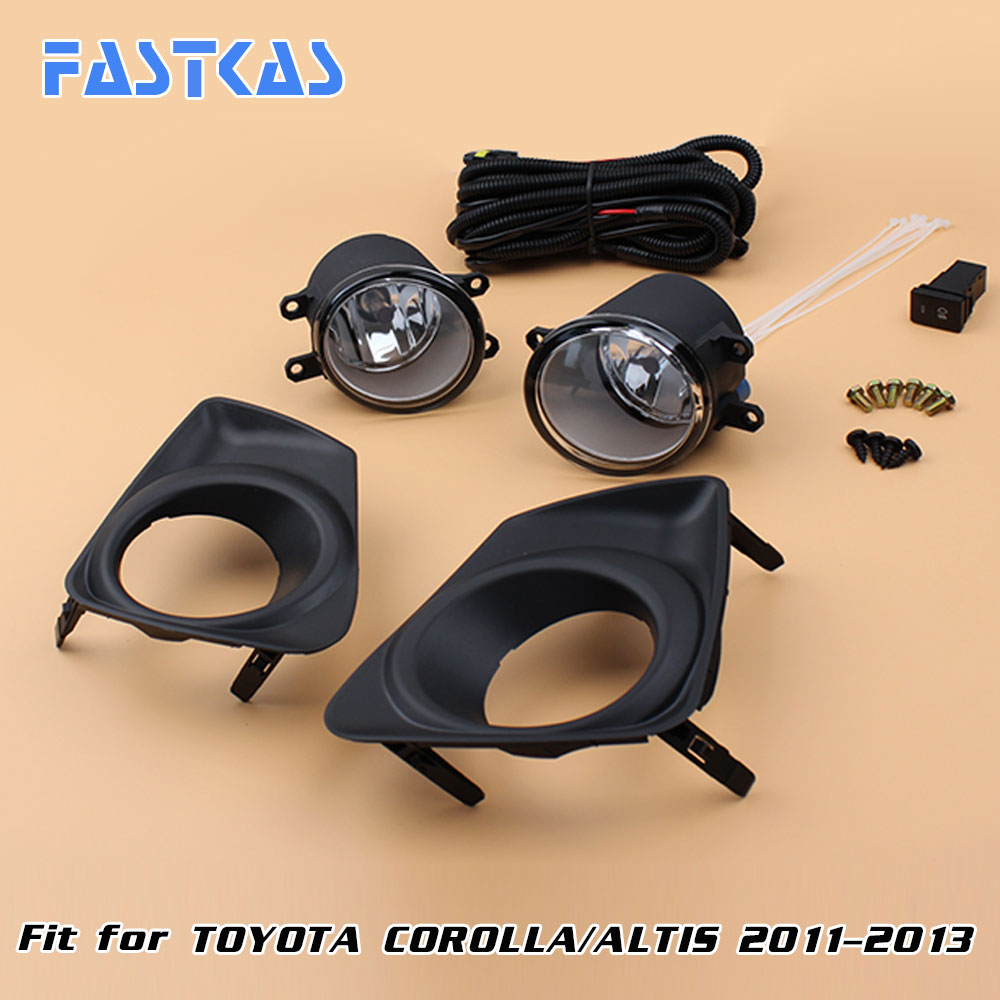12v Car Fog Light Assembly for Toyota Corolla/Altis 2011-2013 Front Left and Right set Fog Light Lamp kit with Harness Relay 12v 55w car fog light assembly for ford focus hatchback 2009 2010 2011 front fog light lamp with harness relay fog light