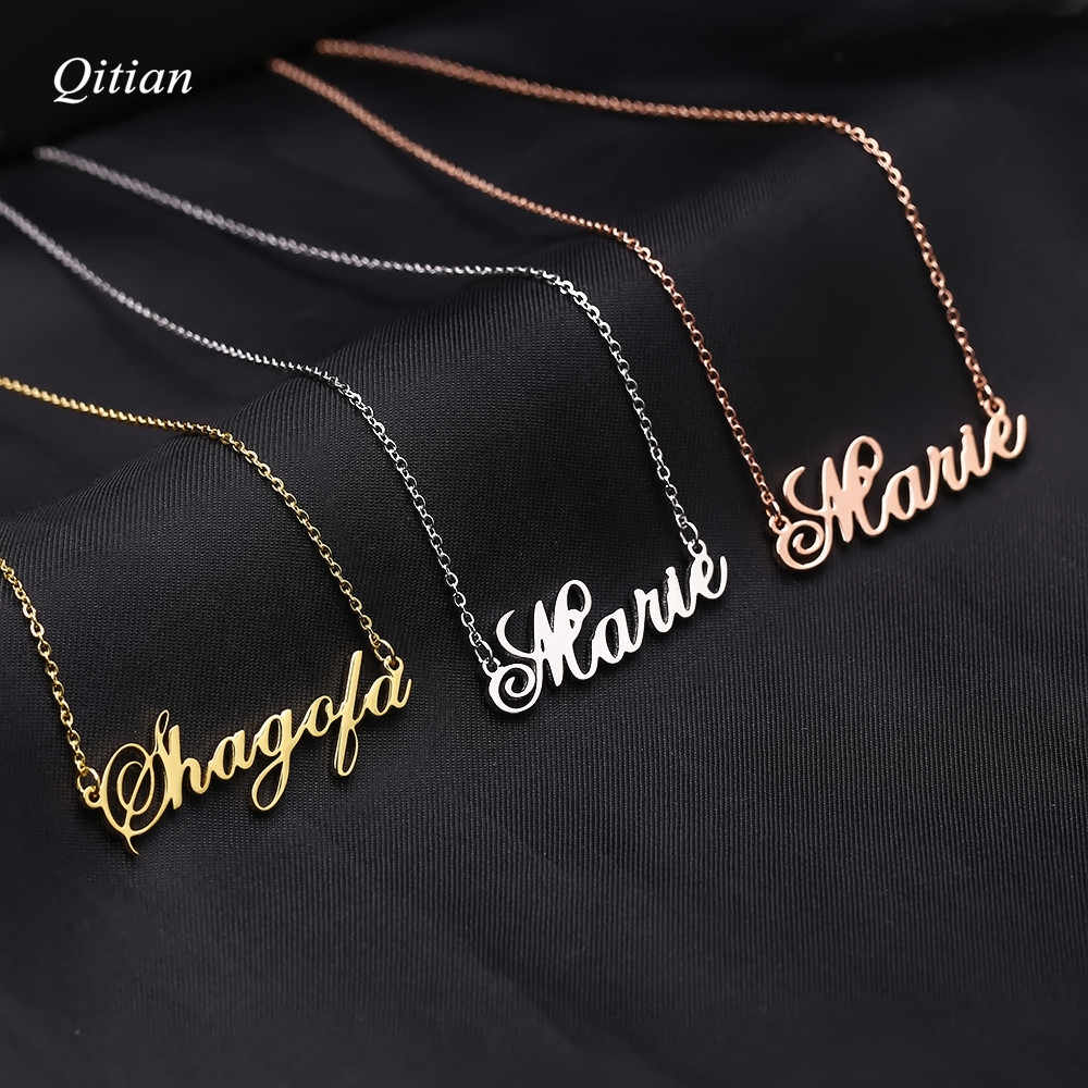 Customized  Stainless Steel Name Necklace Gold Silver Rose Names Choker Cursive Nameplate Necklace For Women