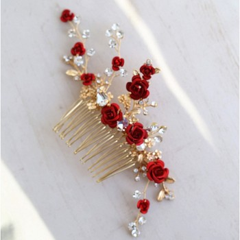 Jonnafe Merah Mawar Bunga Headpiece untuk Wanita Prom Rhinestone Bridal Sisir Rambut Aksesoris Handmade Pernikahan Rambut Perhiasan