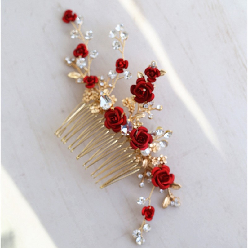Jonnafe Red Rose Floral Headpiece For Women Prom Rhinestone Bridal Hair Comb Accessories Handmade Wedding Hair Jewelry jonnafe handmade red flower wedding prom hair clip jewelry gold leaf bridal hair accessories comb headpiece